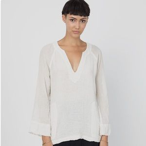 Raquel Allegra Cotton Gauze V-Neck Top